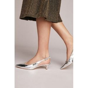 Sam Edelman Silver Ludlow Leather Kitten Heel Pump